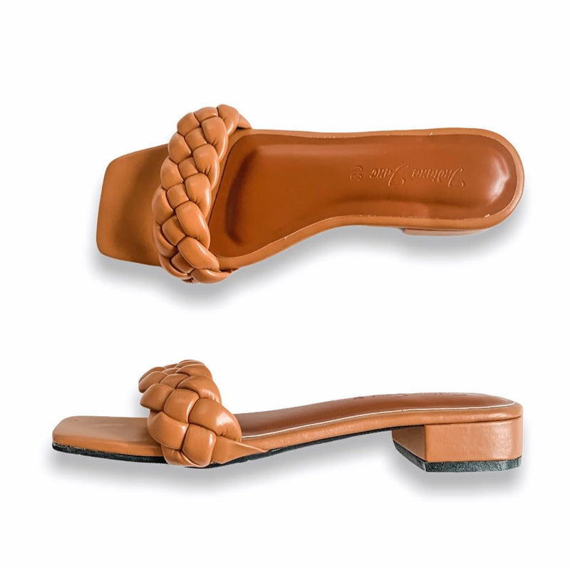 ORION Camel Braided Slide Heels