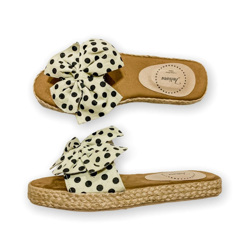 RIO Brown Elegant Polka Ribbon Low-Platform Slides