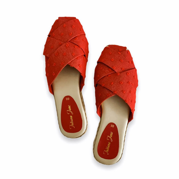 ORCHID Distress Canvas Red Glitz Weaved Suede Mules