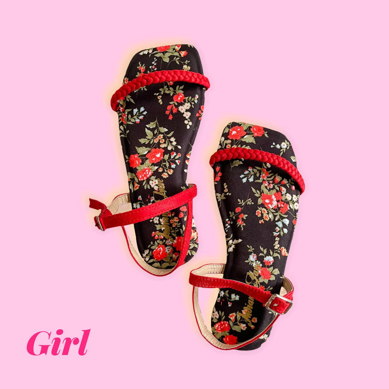 CITRINE Red Floral Printed Flats (Kids)