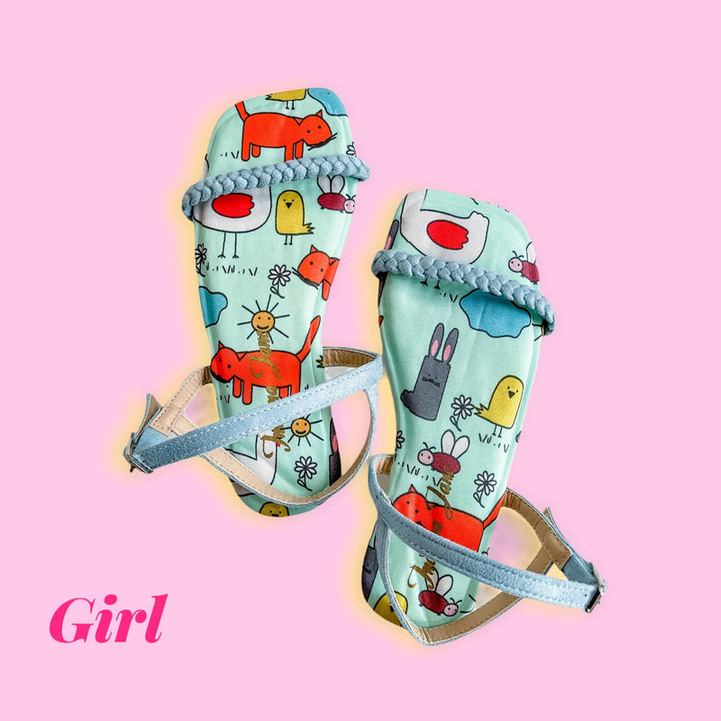 CITRINE Blue Cartoon Printed Flats (Kids)