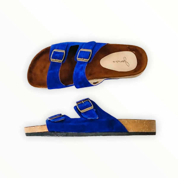 HIS YANKEES Royal Blue Elegant Flat Slides- Men