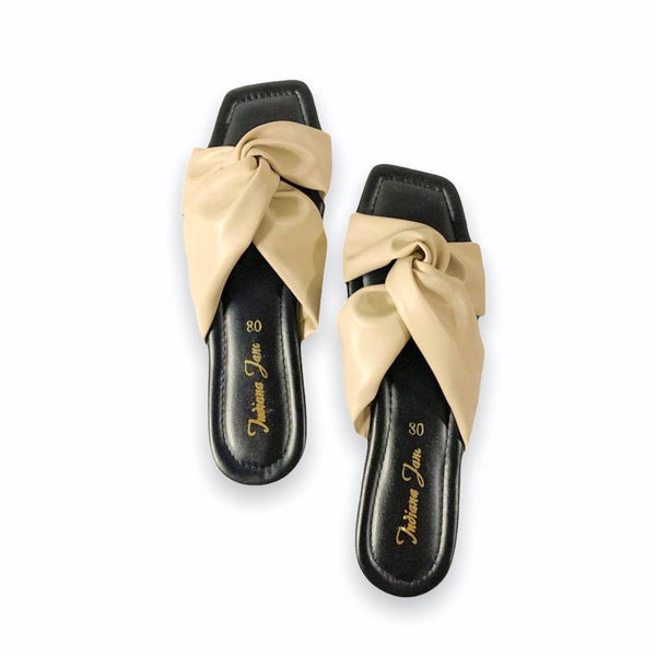 BEETLE Bone Twisted Wide Strap Flat Slides