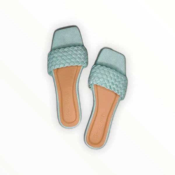 PHOENIX Mint Braided Slide Flats