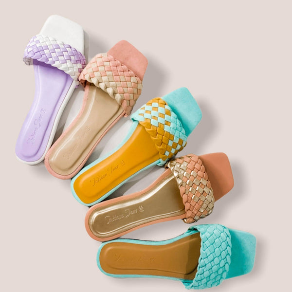 LYNX Mustard/Mint Braided Slide Flats