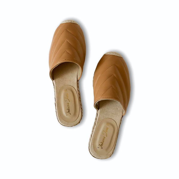 FRIENDSHIP Tan Leather Mules Espadrilles