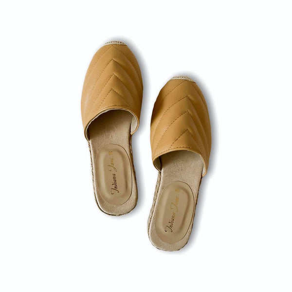 FRIENDSHIP Beige Leather Mules Espadrilles