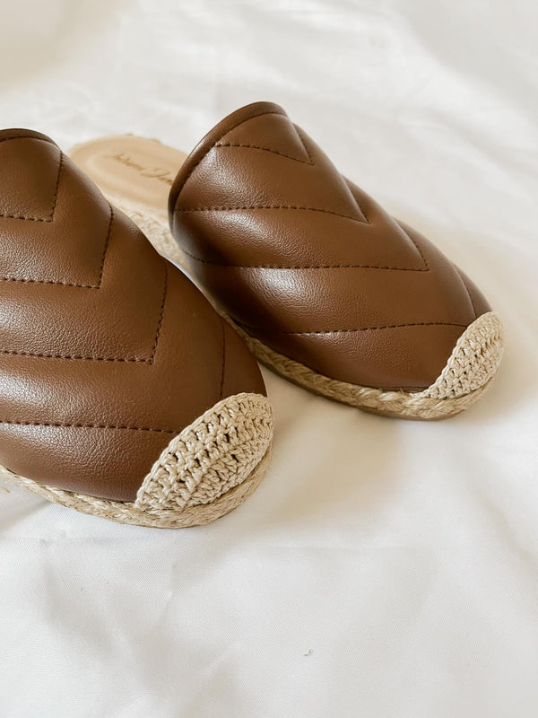 FRIENDSHIP Brown Leather Mules Espadrilles