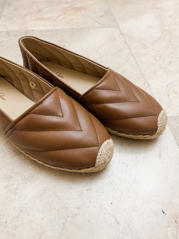 AMITY Brown Leather Espadrilles