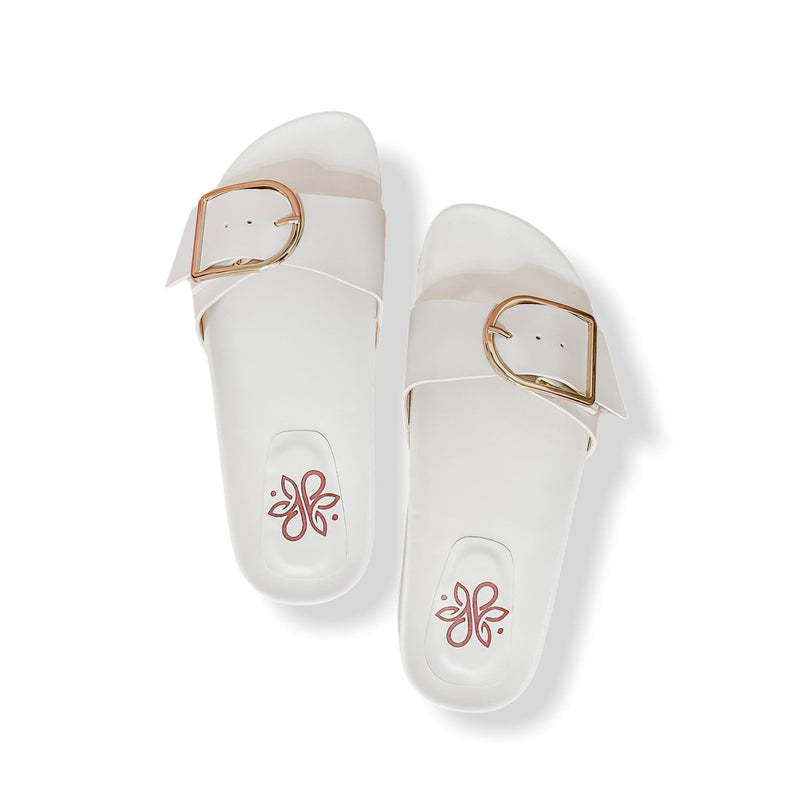 CANNES Buckle Casual White Slides
