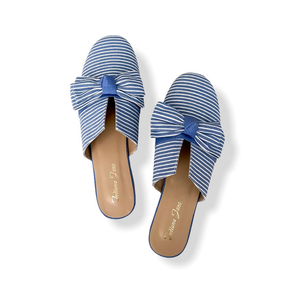 POMPEI Blue Stripes Fabric With Ribbon Mules- Mom & Daughter
