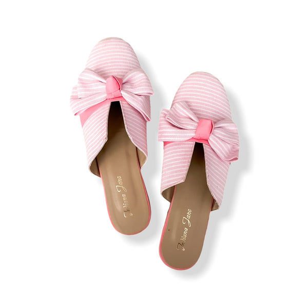 POMPEI Light Pink Stripes Fabric With Ribbon Mules- Mom & Daughter