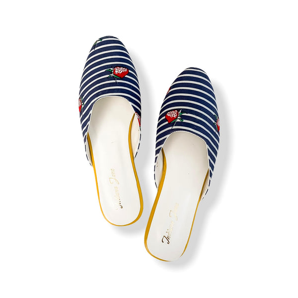 LUCCA Blue With Strawberry Print Stripes Fabric Mules- Mom & Daughter