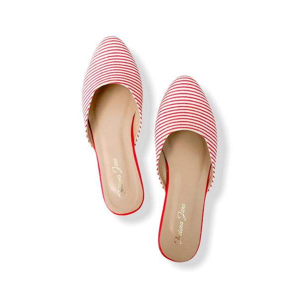 PALERMO Red Stripes Fabric Mules- Mom & Daughter