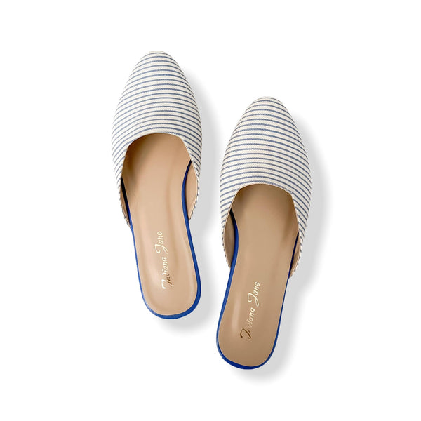 PALERMO Blue Stripes Fabric Mules