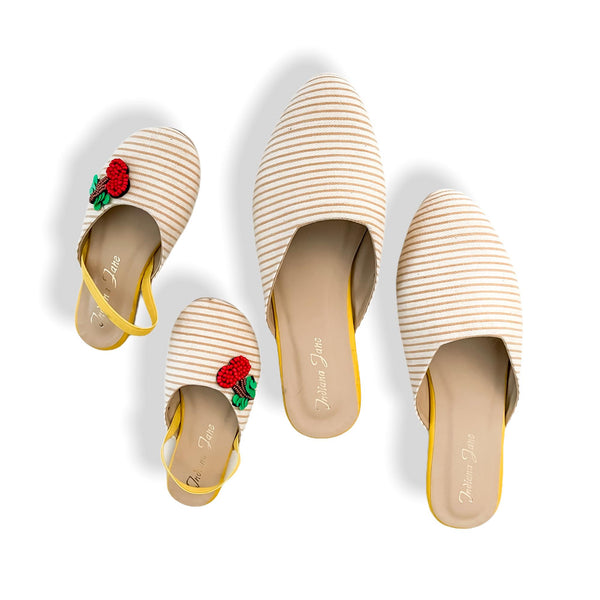PALERMO Mustard Stripes Fabric Mules- Mom & Daughter