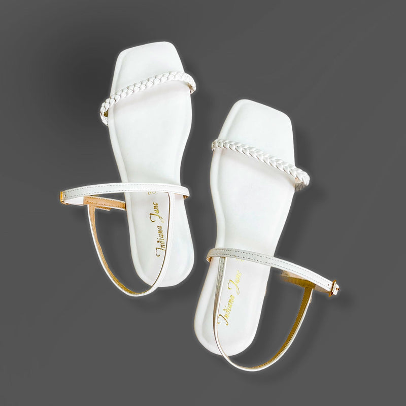 CITRINE White Braided Strap Cushion Flat Sandals Solid