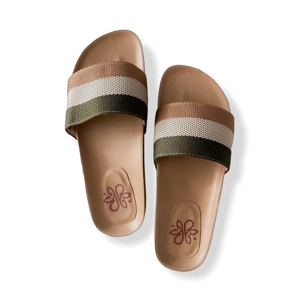 SIENNA Tricolor Casual Cork Slides