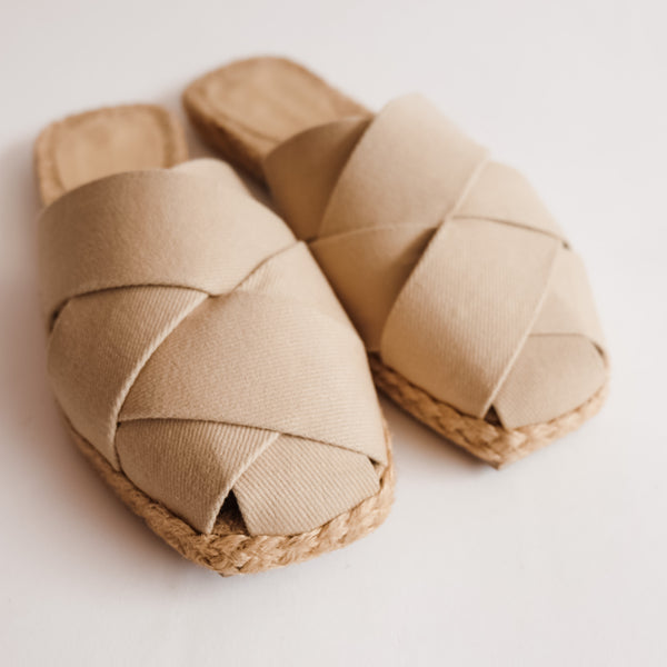 ORCHID Beige Weaved Canvas Abaca Mules