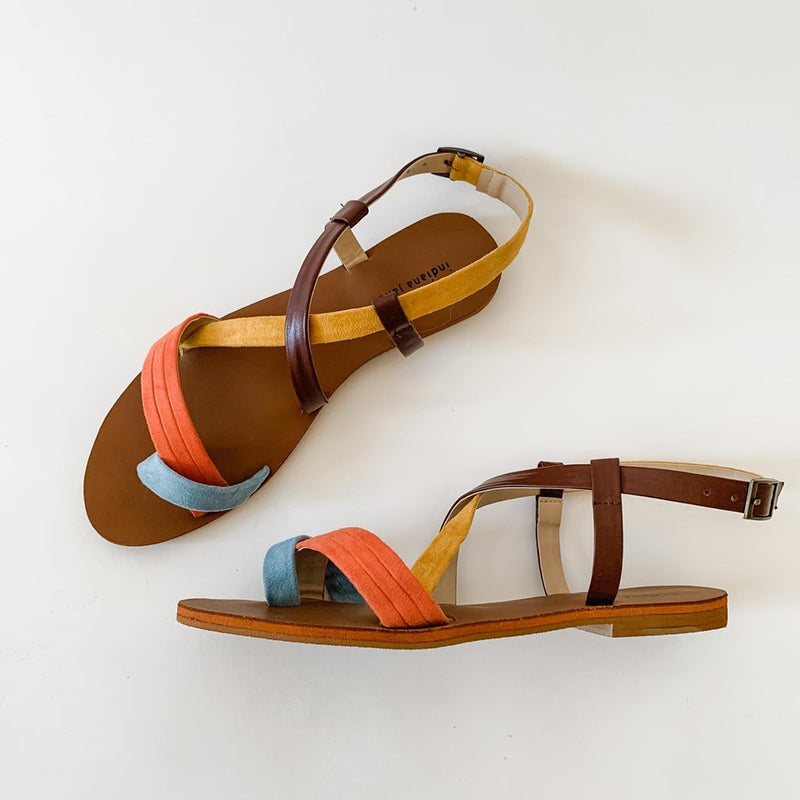 LORNA Vintage Cross Strap Flat Sandals - Blue