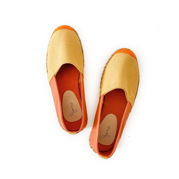 HER KINDNESS Ladies Mustard/Salmon Espadrille Two-Tone