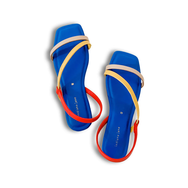 MYKONOS Tri Color Strap Flat Sandals Royal Blue