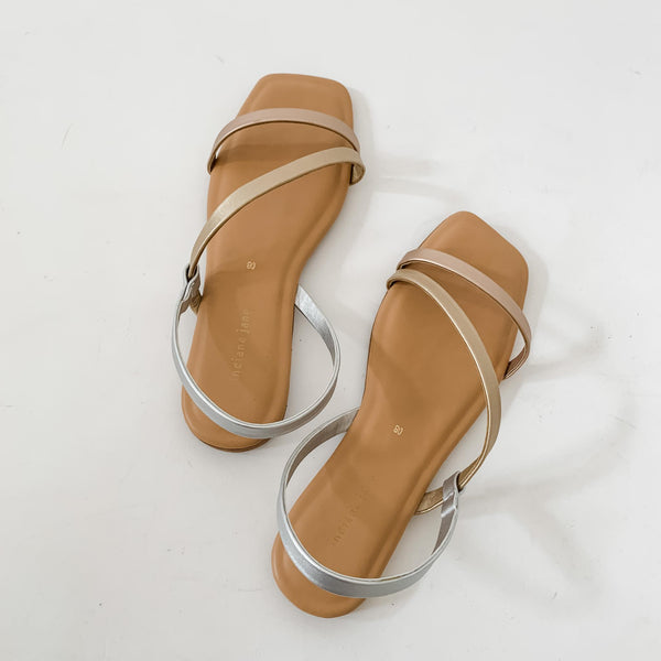 MYKONOS Tri Color Strap Flat Sandals Metallic Neutral