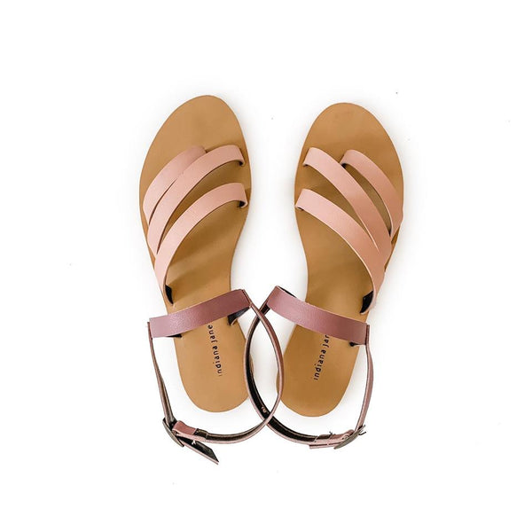 LUMINA Blush/Old Rose Elegant Strap Flat Sandals