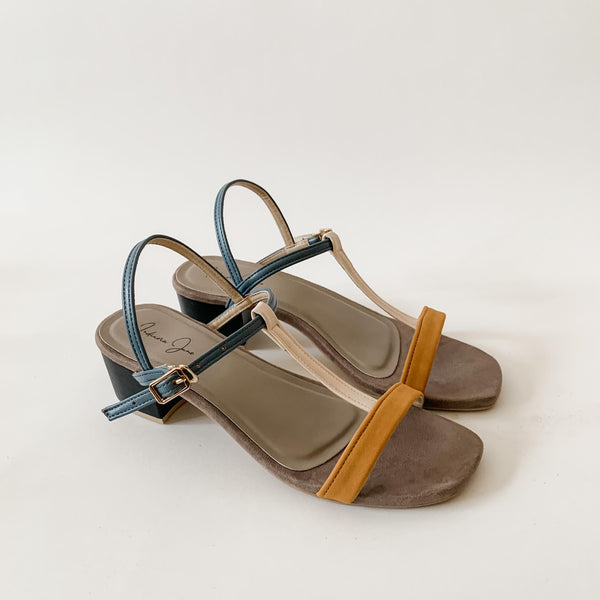 COSMO Taupe T Strap Block Heels Sandals