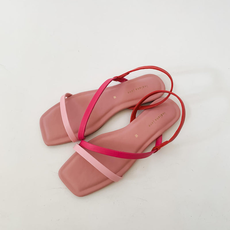 MYKONOS Tri Color Strap Flat Sandals Old Rose