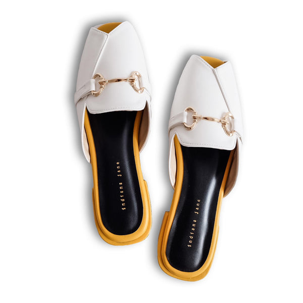CHARITY White/Mustard Two Tone Elegant Mules