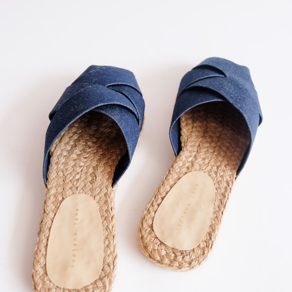 ORCHID Denim Weaved Canvas Abaca Mules