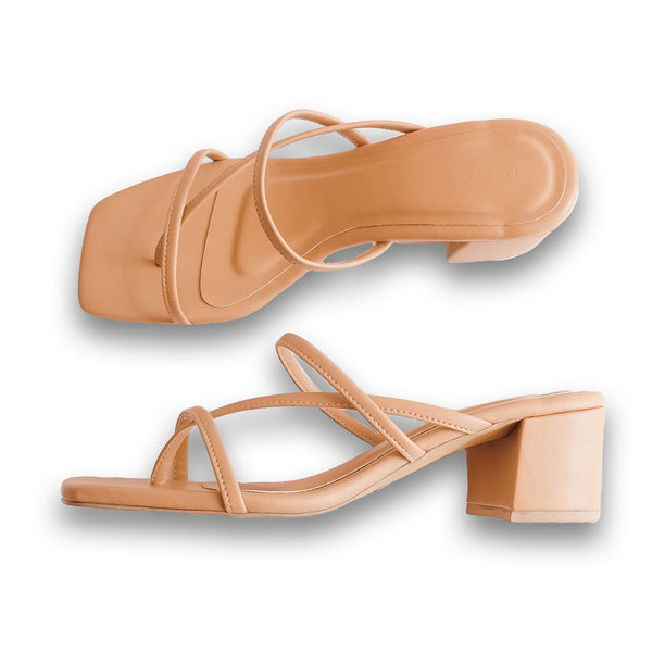 AQUILA Cross Strap Block Heels Slides - Skin