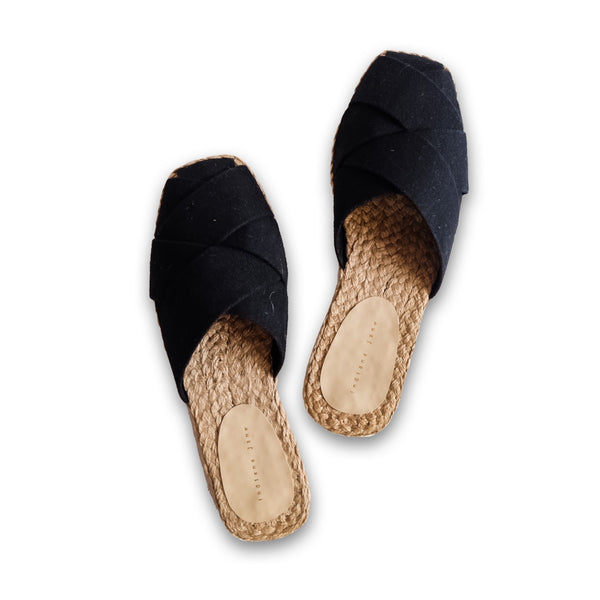 ORCHID Black Weaved Canvas Abaca Mules