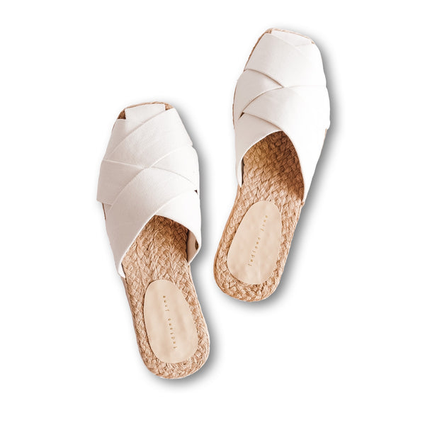 ORCHID White Weaved Canvas Abaca Mules