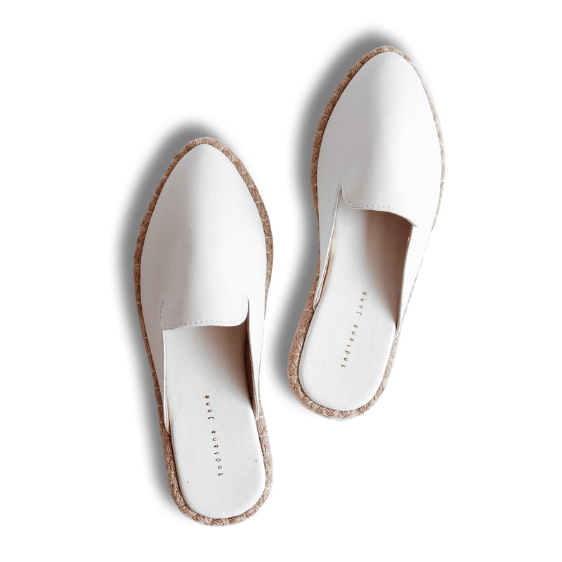 COCO White Leather Abaca Mules