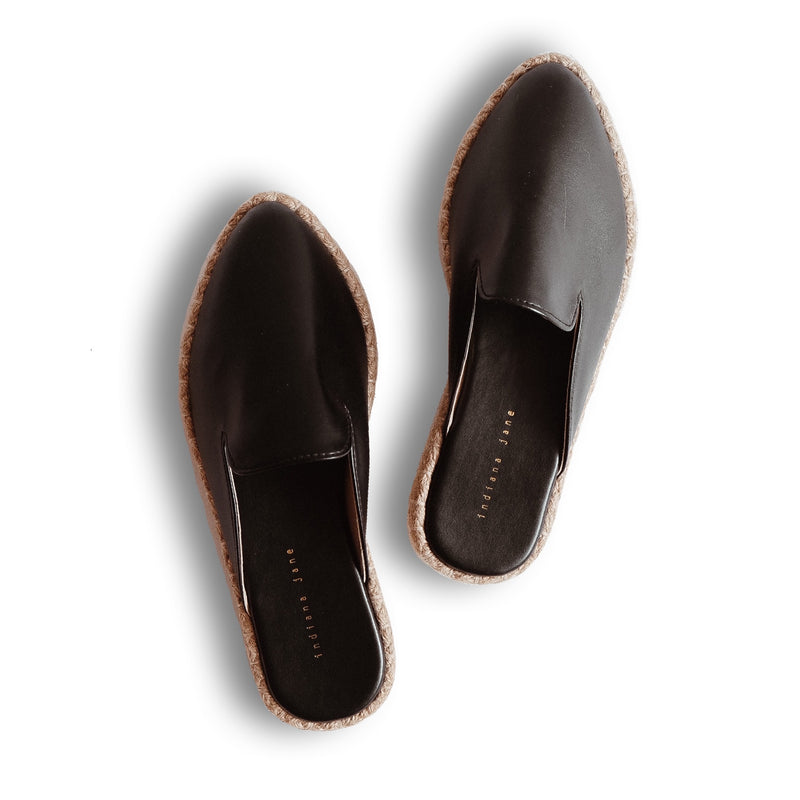 COCO Black Leather Abaca Mules