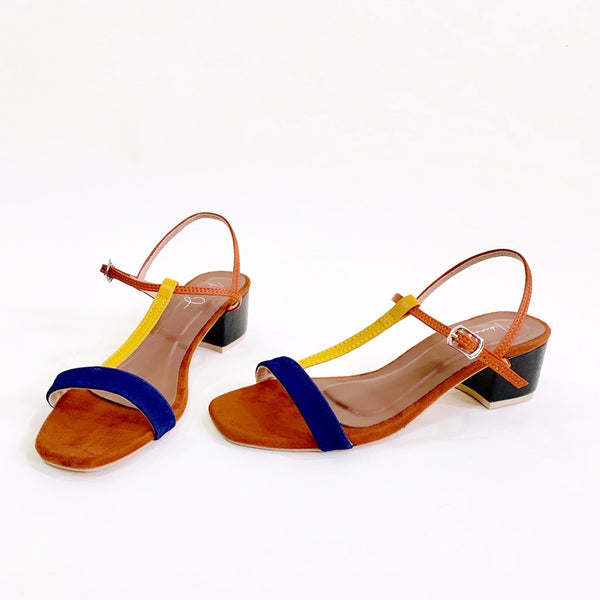 COSMO Brown T Strap Block Heels Sandals
