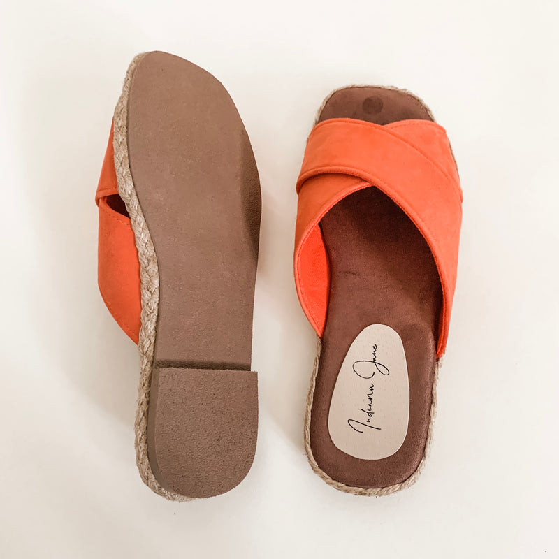 PEONY Salmon Suede Cross Strap Slip-On