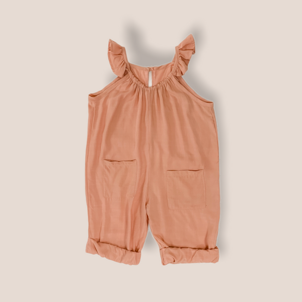 MOANA Cotton Linen Ruffled Kids Jumpsuit