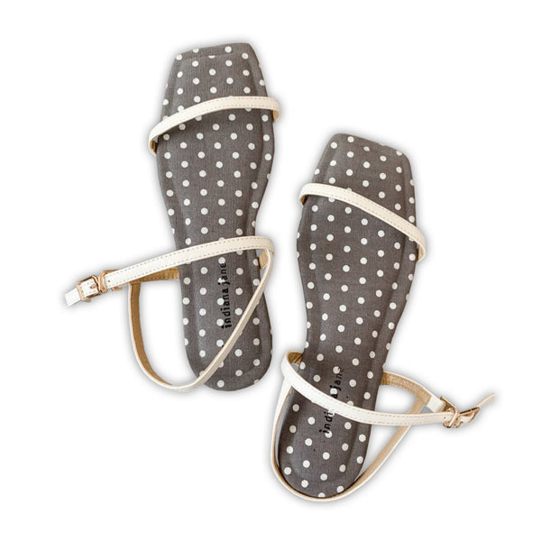 AMETHYST Gray Polka Canvas Cushion Flat Sandals
