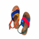 MAYETH SUEDE Retro Wide Cross Strap Flat Sandals