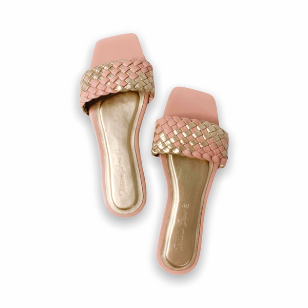 LYNX Blush/Gold Braided Slide Flats