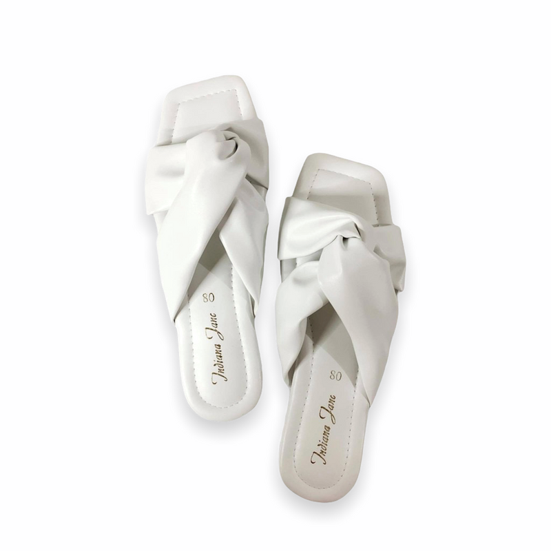 BEETLE White Twisted Wide Strap Flat Slides