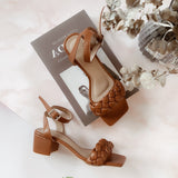 PAMPAS Brown Heels Chunky Sandals