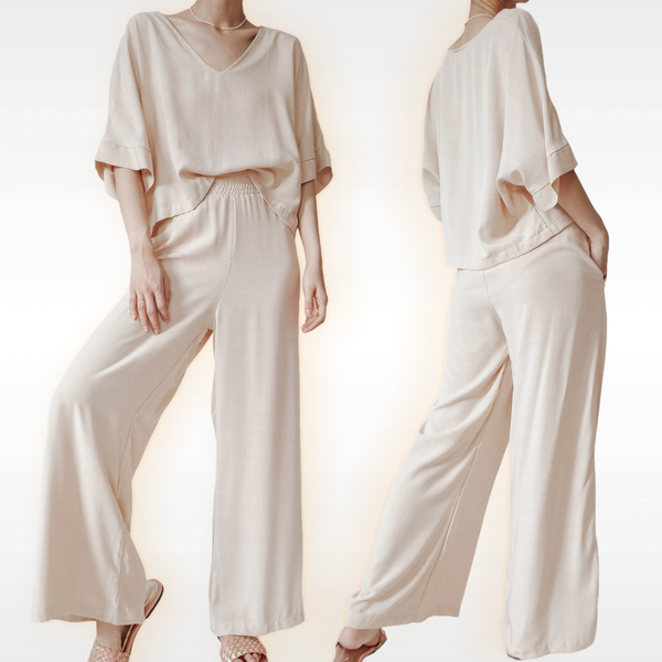 POCAHONTAS Linen Boxy Top and Pants Set