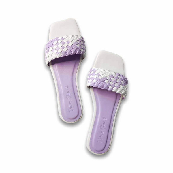 LYNX Lilac/White Braided Slide Flats