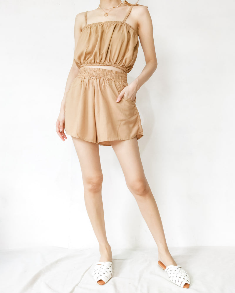 BELLE Cropped Strappy Shirred Top & Shorts Coord