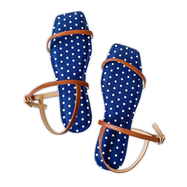 AMETHYST Blue Polka Canvas Cushion Flat Sandals