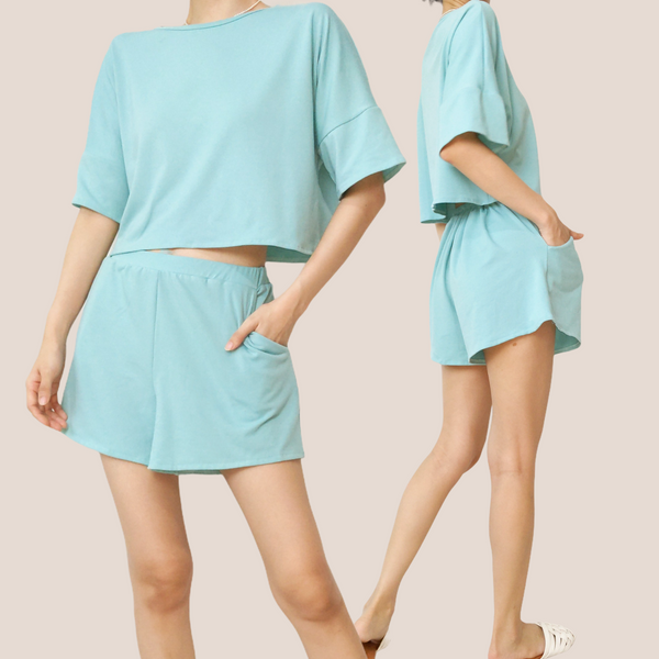 WHITNEY Half Sleeve Top and Shorts Knitted Set